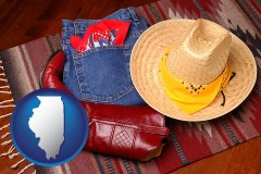 illinois western boots, hat, and jeans