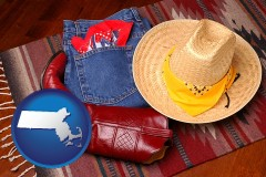 massachusetts western boots, hat, and jeans