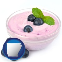 arkansas blueberry yogurt with fresh blueberries