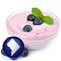 washington-dc blueberry yogurt with fresh blueberries