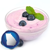 georgia blueberry yogurt with fresh blueberries