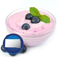 south-dakota blueberry yogurt with fresh blueberries