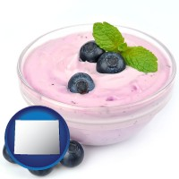wyoming blueberry yogurt with fresh blueberries